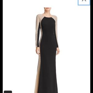 Avery G Beaded Color-Blocked Gown